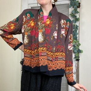 Vintage Pleated Open Front Floral Cardigan Sz. 12